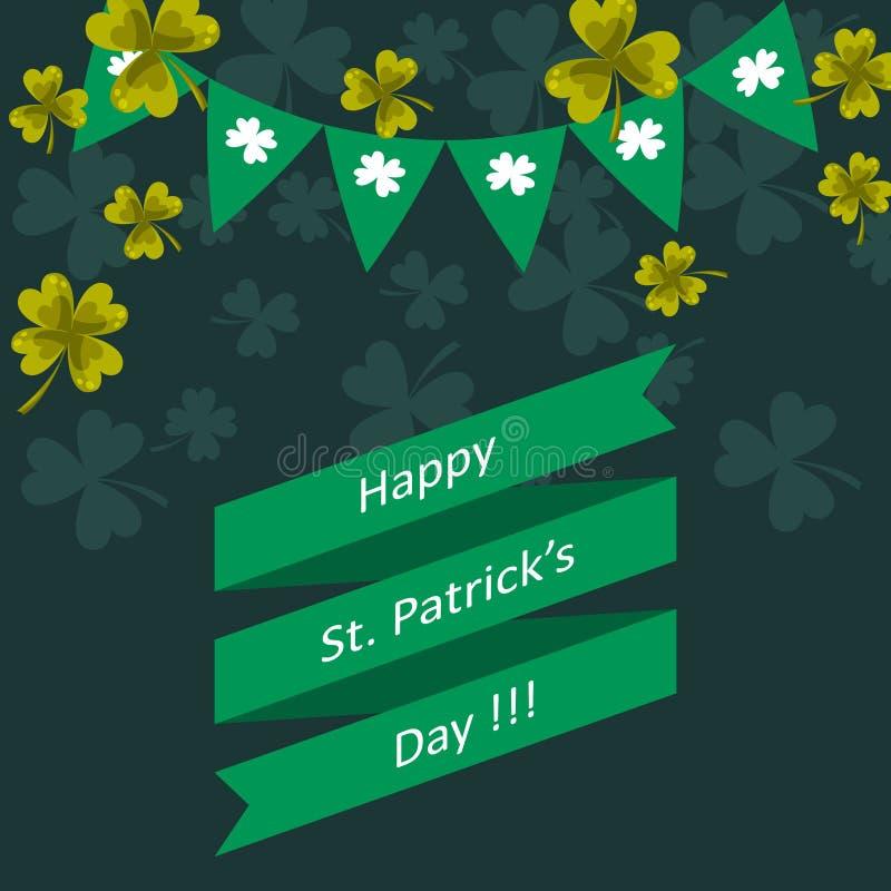 Lycklig för dagvektor för St Patricks illustration för hälsning royaltyfri illustrationer