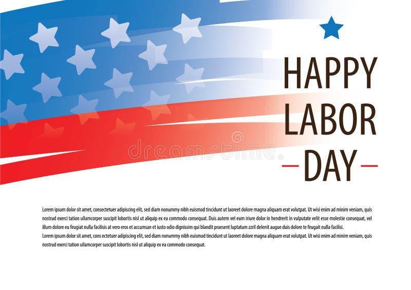 Lycklig för USA för arbets- dag Amerika vektor flagga med den blåa och röda remsadesignen för advertizing för banerbroschyrmall vektor illustrationer