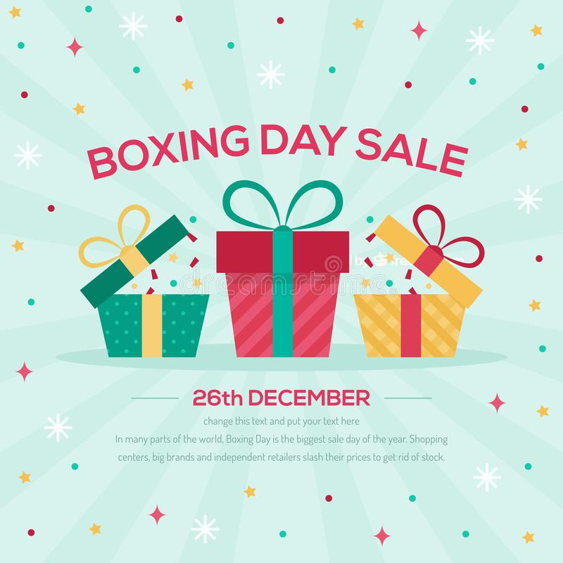 Lycklig försäljningsdesign för boxas dag med gåvaaskar som shoppar stora besparingar för ferie vektor illustrationer