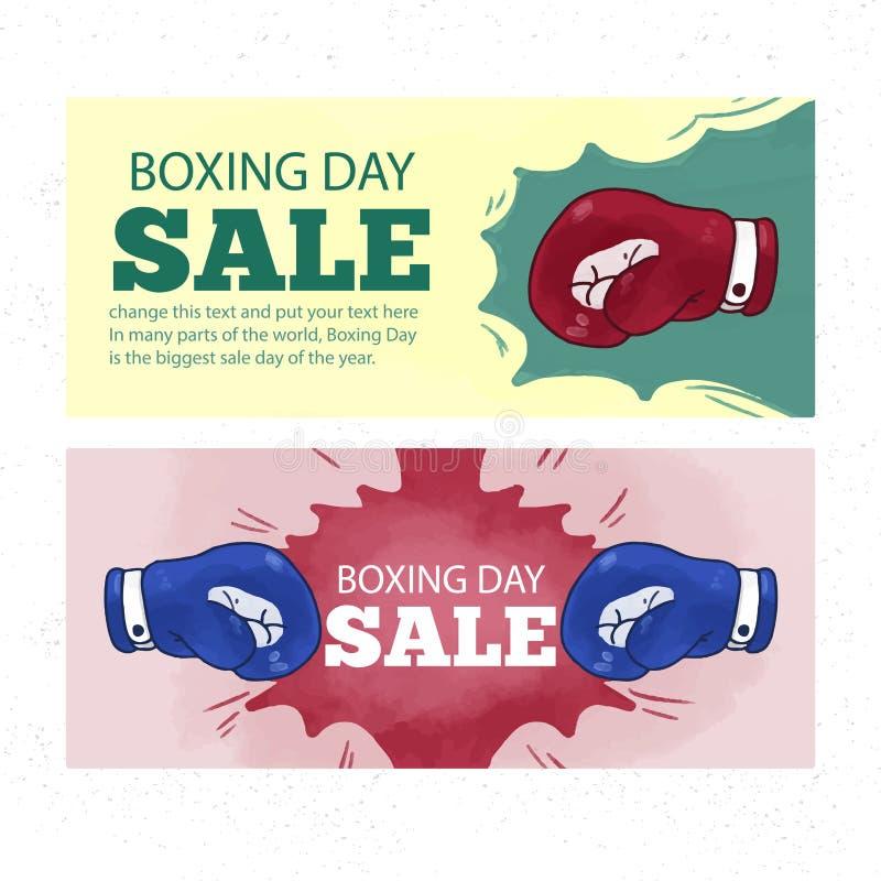 Lycklig försäljningsdesign för boxas dag med gåvaaskar som shoppar stora besparingar för ferie stock illustrationer