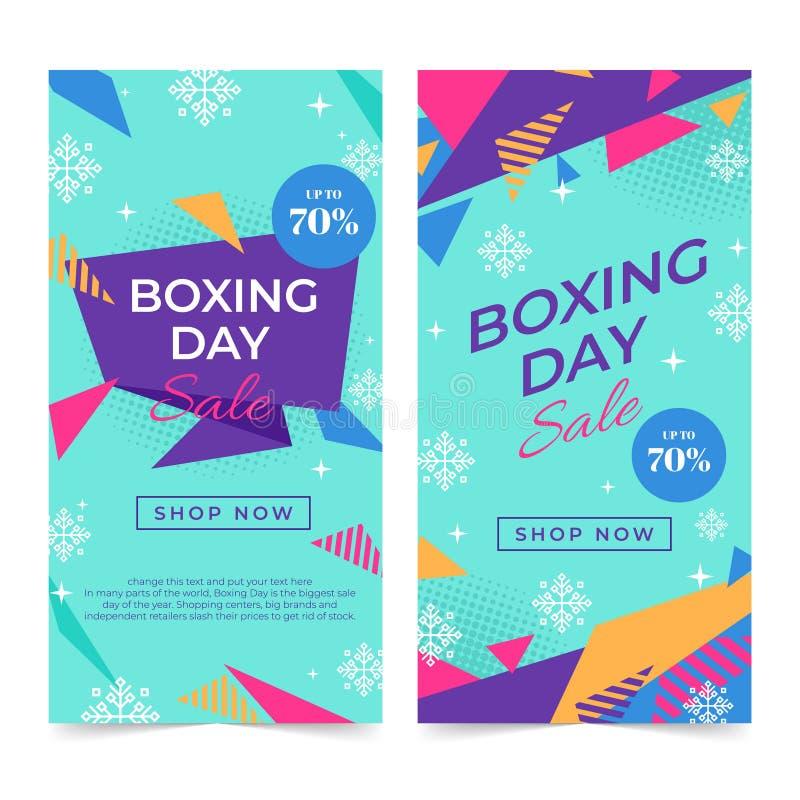 Lycklig försäljningsdesign för boxas dag med gåvaaskar som shoppar stora besparingar för ferie royaltyfri illustrationer