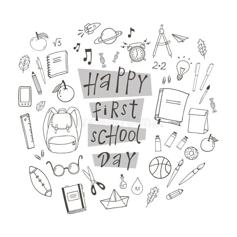 Lycklig första skoladag vektor illustrationer