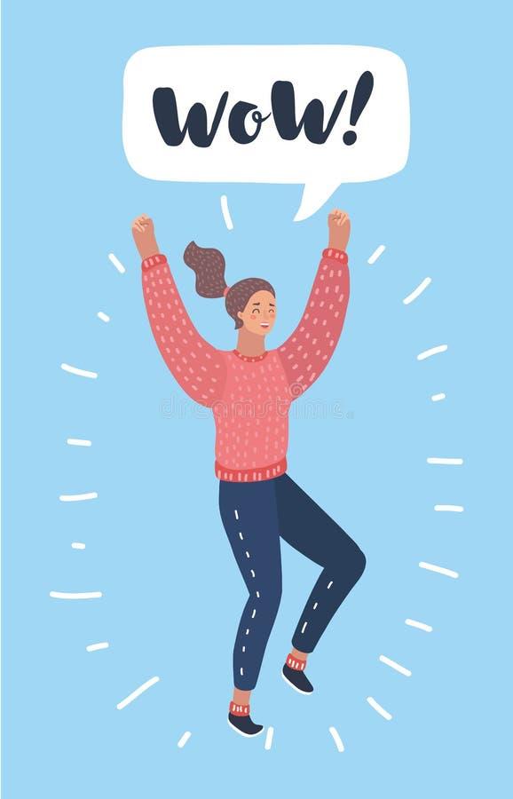 Lycklig förvånad kvinna, i isolerat att hoppa för jeans vektor illustrationer