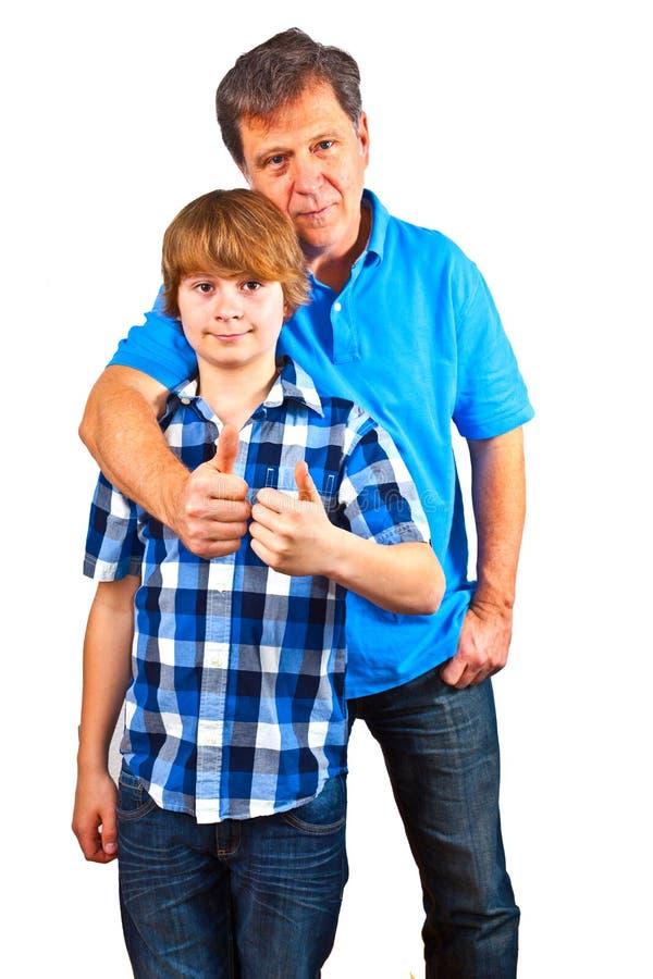 Lycklig fader och son arkivbilder