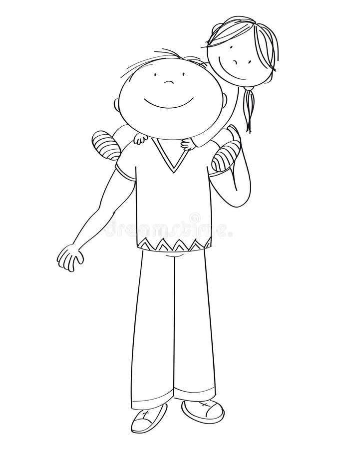 Lycklig fader som bär det lilla barnet, hans dotter, på hans skuldror royaltyfri illustrationer