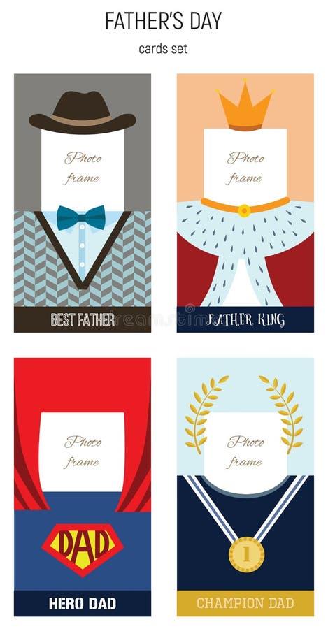 Lycklig faderdag bästa uppsättning för ram för farsavektorfoto royaltyfri illustrationer