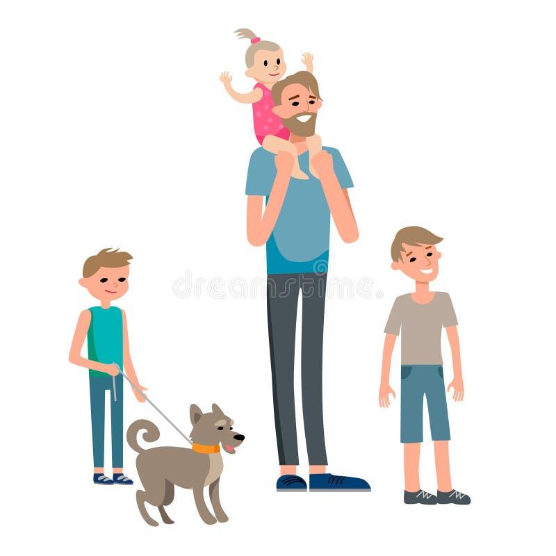 Lycklig faderdag för familj vektor illustrationer