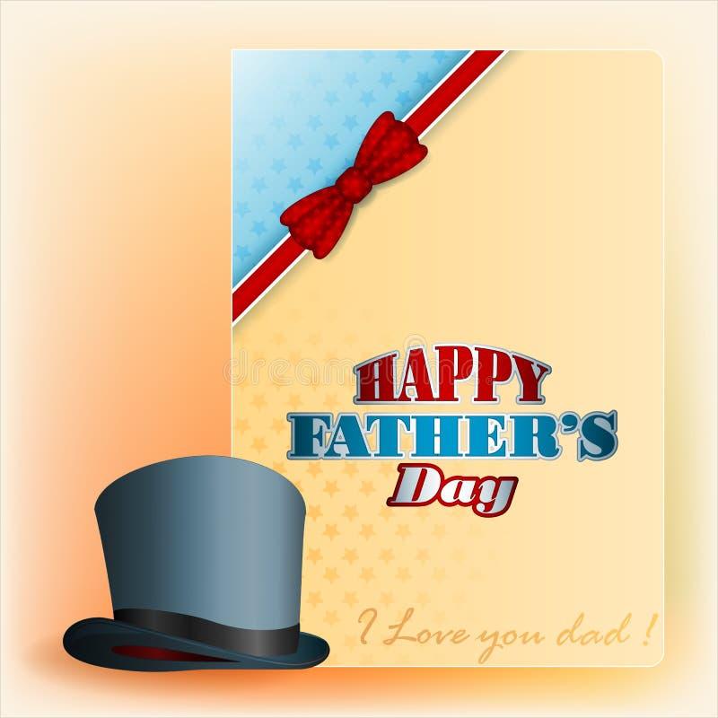 Lycklig faders bakgrund för design för dag med den bästa hatten stock illustrationer