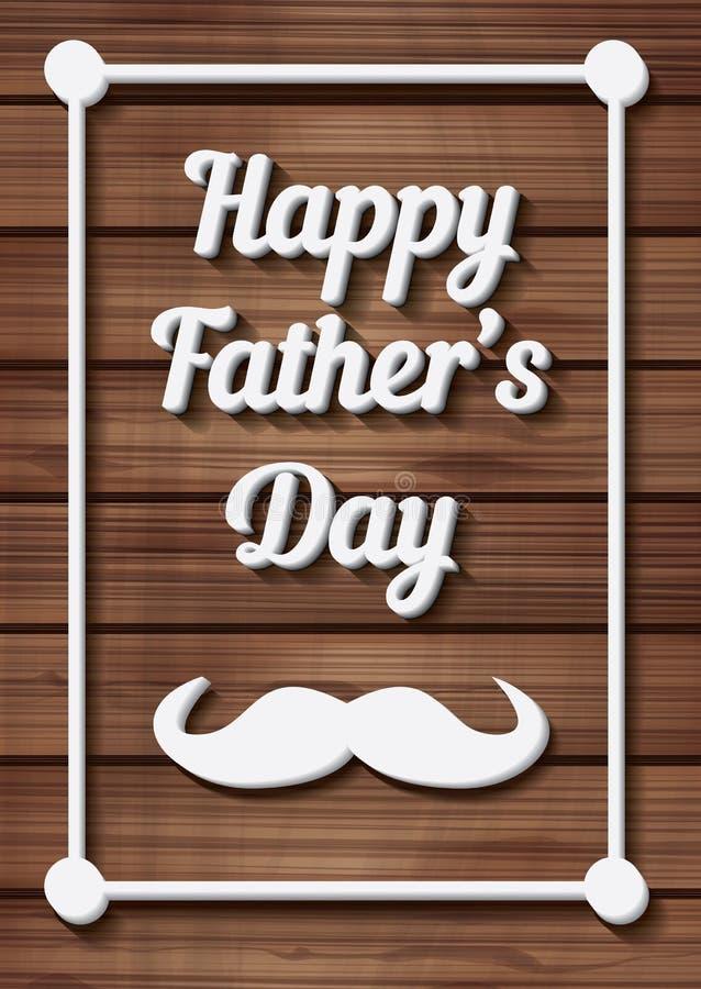 Lycklig faders typografisk bakgrund för dag med mustaschen stock illustrationer