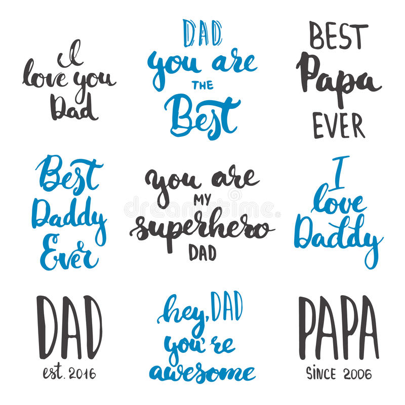 Lycklig faders uppsättning för kort för hälsning för kalligrafi för bokstäver för dag på den vita bakgrunden stock illustrationer