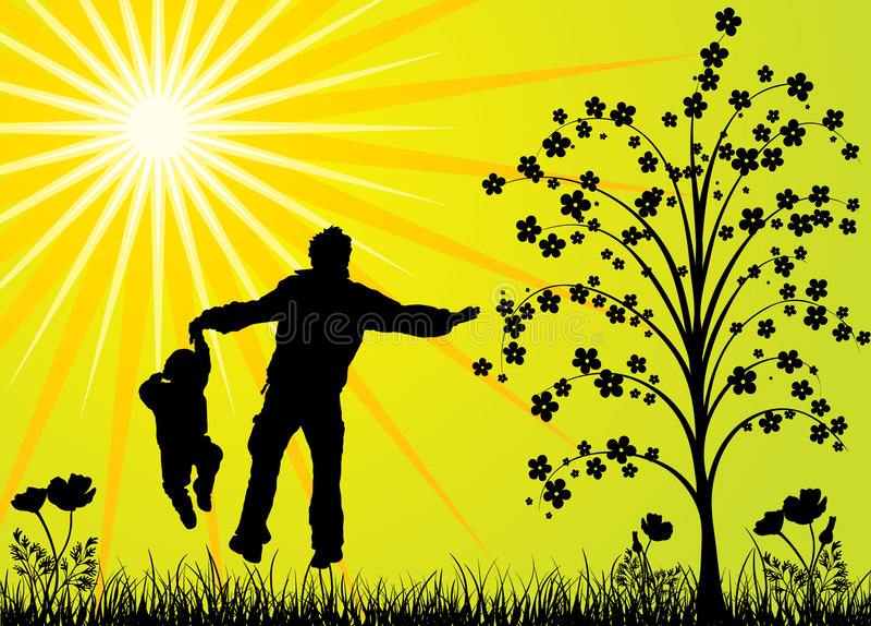lycklig familj royaltyfri illustrationer