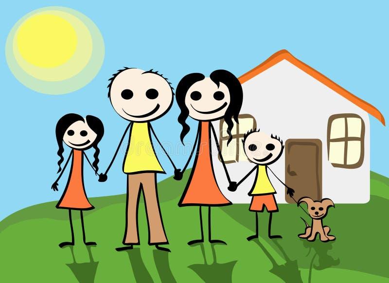 lycklig familj stock illustrationer
