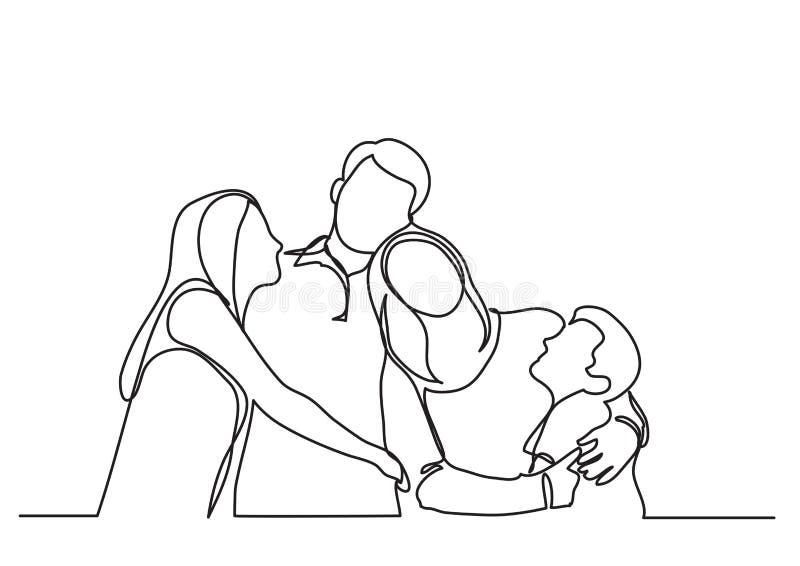 Lycklig familj av fyra - enkel linje teckning royaltyfri illustrationer
