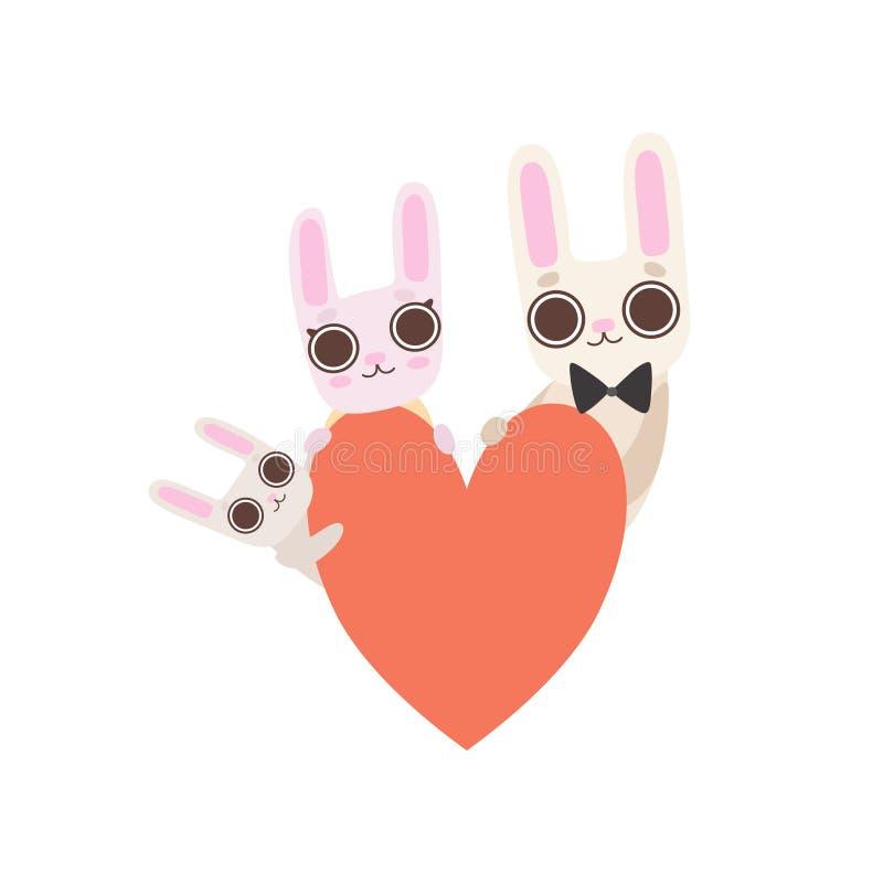 Lycklig familj av kaniner med röd hjärta, fader, moder och att behandla som ett barn kaniner, gullig vektor för tecknad filmharet vektor illustrationer