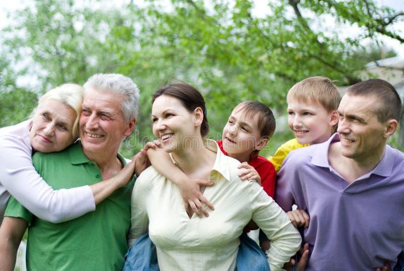Lycklig familj av sex royaltyfri foto