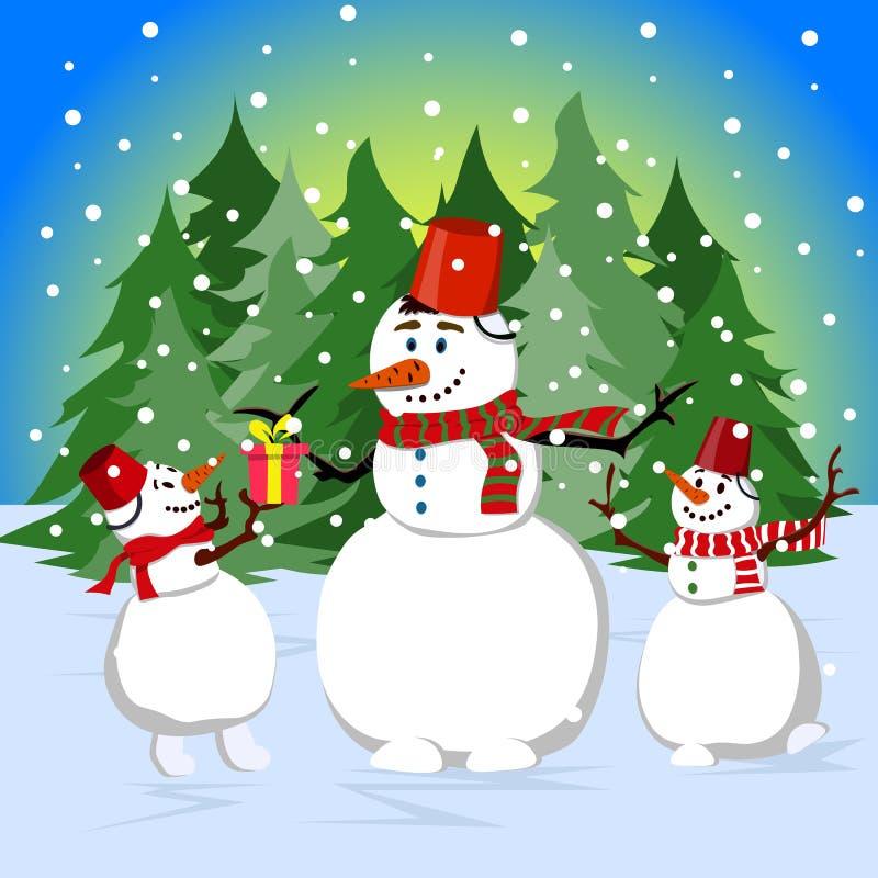 Lycklig familj av snögubbear nära skogen på julafton Illustration i plan stil royaltyfri illustrationer