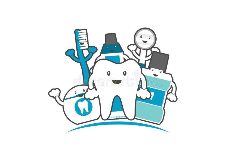 Lycklig familj av sunda tänder och vännen, tandvårdbegrepp royaltyfri illustrationer