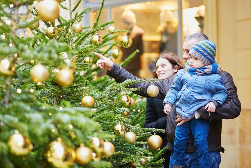 Lycklig familj av tre utomhus på jul royaltyfri fotografi