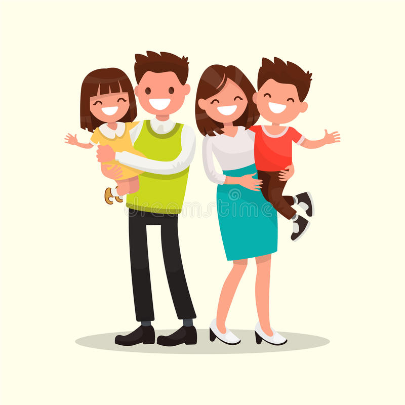 lycklig familj Avla, fostra, sonen och dottern tillsammans vektor royaltyfri illustrationer