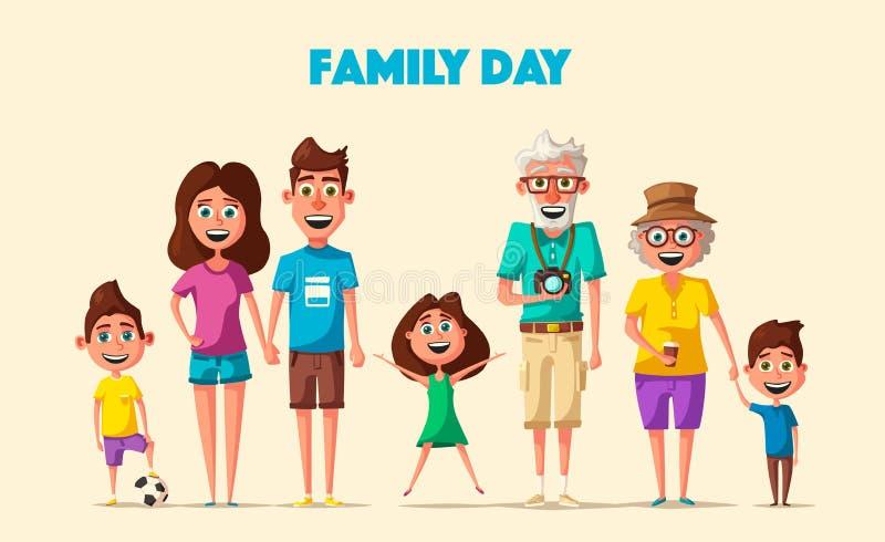 lycklig familj den främmande tecknad filmkatten flyr illustrationtakvektorn stock illustrationer