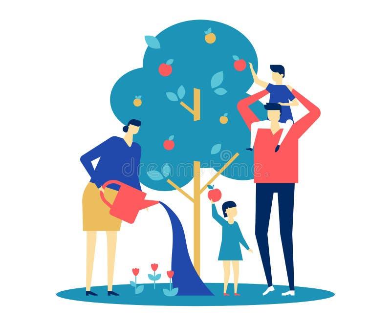 Lycklig familj - färgrik illustration för plan designstil vektor illustrationer
