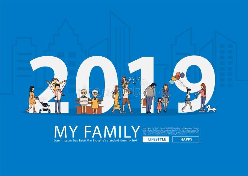 lycklig familj för nytt år som 2019 har rolig concep för idé för livstil royaltyfri illustrationer