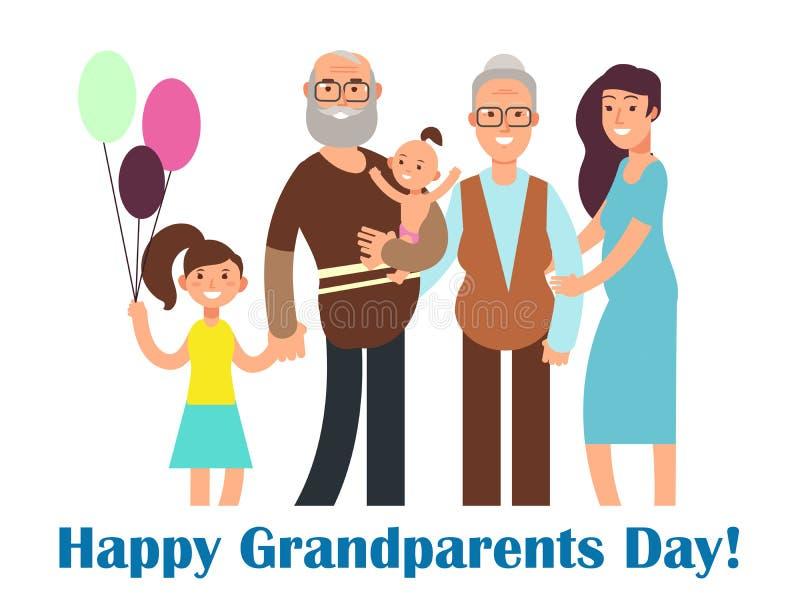 Lycklig familj för tecknad film med morföräldrar Illustration för morförälderdagvektor royaltyfri illustrationer