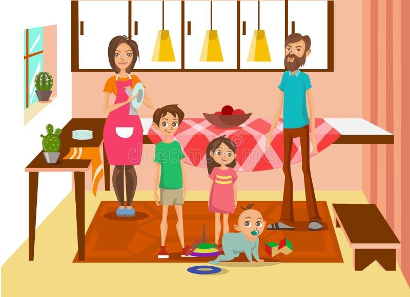 Lycklig familj hemma, moder, fader och deras tre ungar som poserar i inre färgrik vektorillustration för kök royaltyfri illustrationer