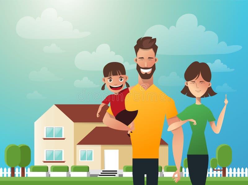 Lycklig familj i bakgrunden av hans hem Fader, moder och dotter tillsammans utomhus Vektorillustrationer i royaltyfri illustrationer