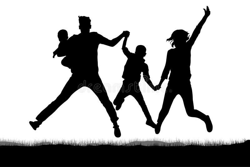 Lycklig familj i banhoppningkontur royaltyfri illustrationer