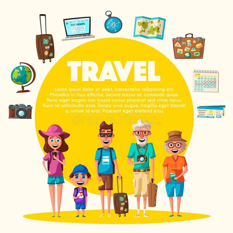 Lycklig familj i lopp Resa av föräldrar och barnet den främmande tecknad filmkatten flyr illustrationtakvektorn stock illustrationer