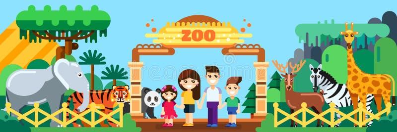 Lycklig familj i zoo, lägenhetstilillustration Helgen parkerar in, det utomhus- begreppet för fritid royaltyfri illustrationer