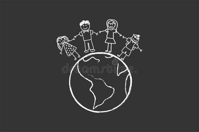 Lycklig familj med barn runt om världen stock illustrationer