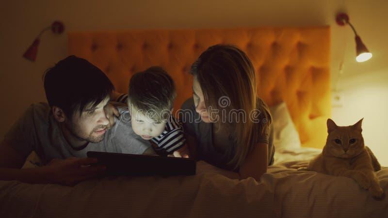 Lycklig familj med den lilla sonen och roliga katten som ligger i hemmastadd säng och för surfar socialt massmedia på minnestavla royaltyfri foto