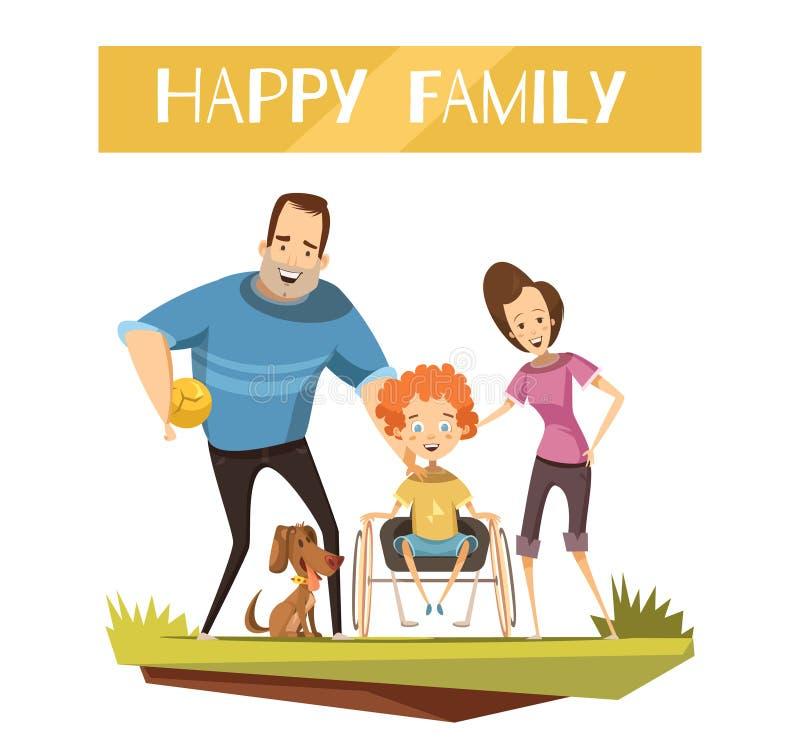 Lycklig familj med handikappade personerungeillustrationen royaltyfri illustrationer