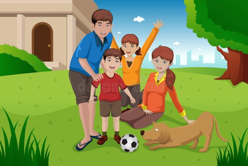 Lycklig familj med husdjur stock illustrationer