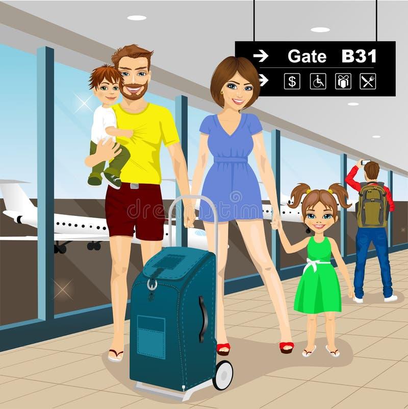 Lycklig familj med resväskan i flygplats stock illustrationer