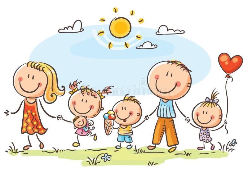 Lycklig familj med tre barn som utomhus går vektor illustrationer