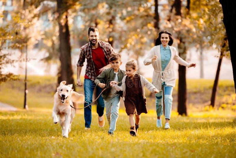 Lycklig familj med två barn som tillsammans jagar en hund arkivbild