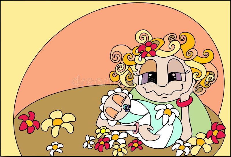 Lycklig familj - moder` s på nätterna Kvinnan med behandla som ett barn, den plana stilsymbolen, folktecknad filmtecken royaltyfri foto