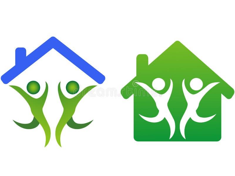 Lycklig familj och hem- begreppssymbol vektor illustrationer