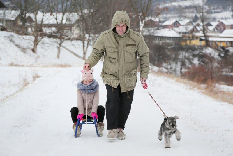 Lycklig familj- och valphund med pulkan som har gyckel i snö på vintersemestrar arkivfoton