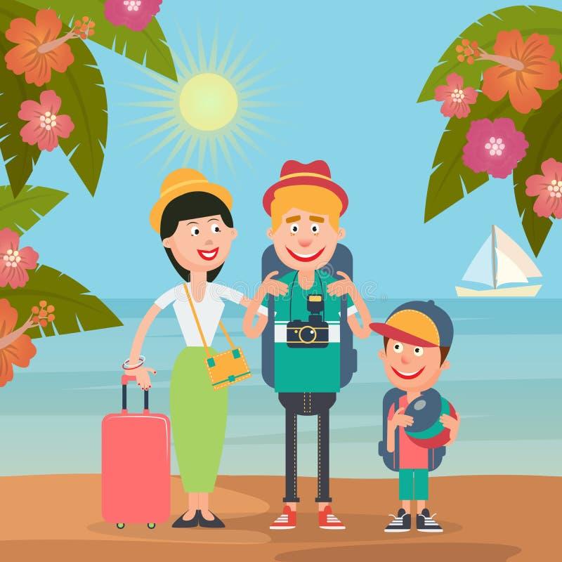 Lycklig familj på lopp med flygplanet Ung familj på den tropiska semestern royaltyfri illustrationer