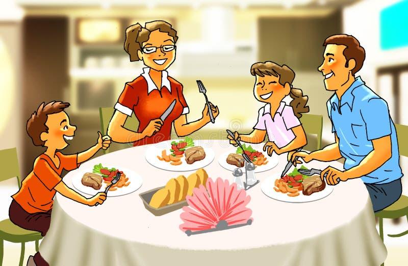 Lycklig familj på matställetabellen stock illustrationer