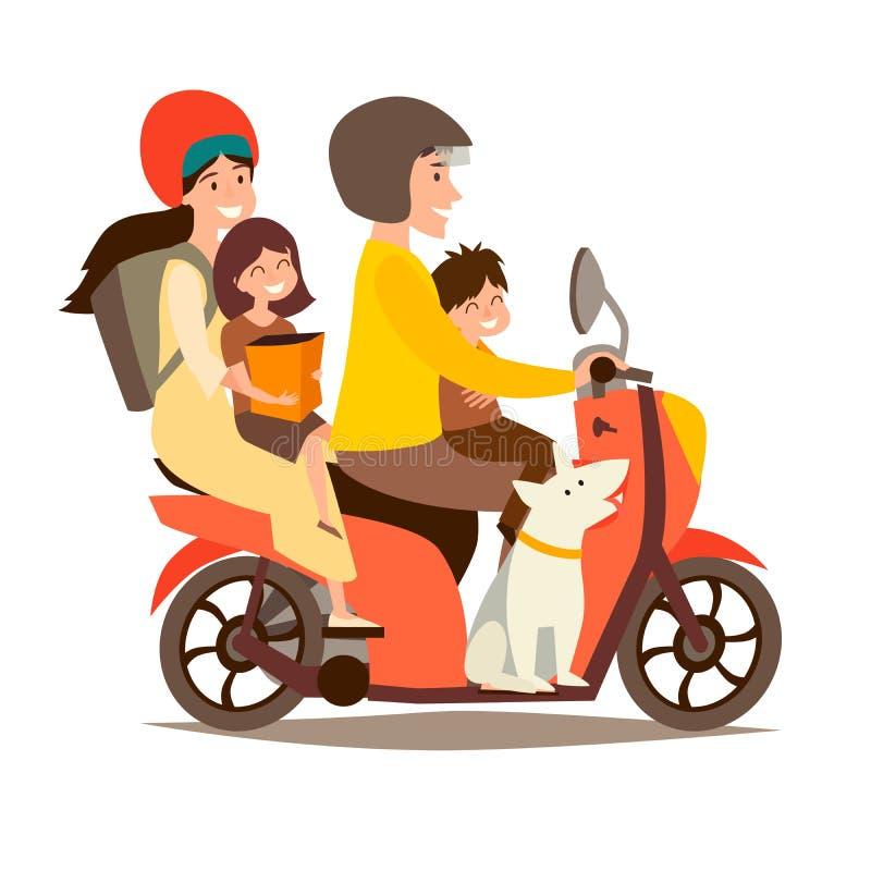 Lycklig familj på sparkcykeln Man och kvinna med barn och hunden på motorcykelvektorillustration vektor illustrationer