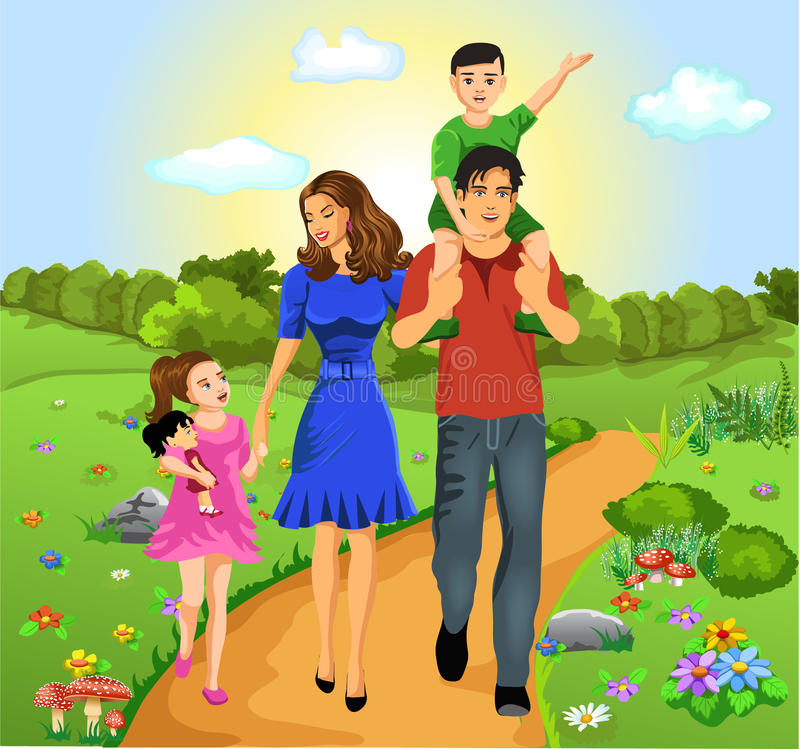 Lycklig familj på vägen av liv royaltyfri illustrationer