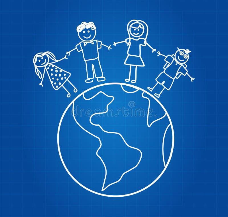 Lycklig familj runt om världen vektor illustrationer