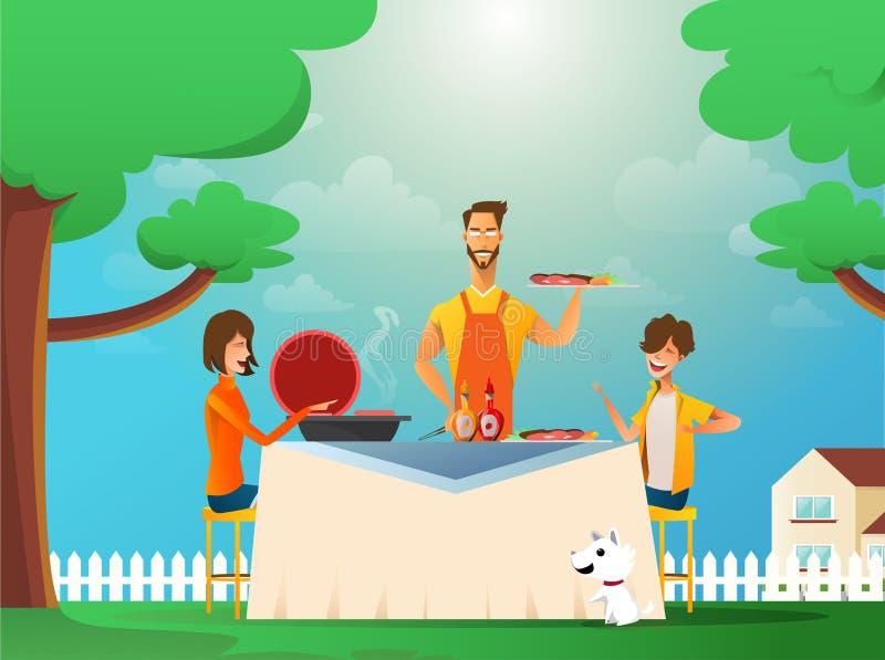 Lycklig familj som äter den utomhus- grillfesten Man, kvinna och ungar som lagar mat och grillar på sommarferie Grillfestmat, som stock illustrationer
