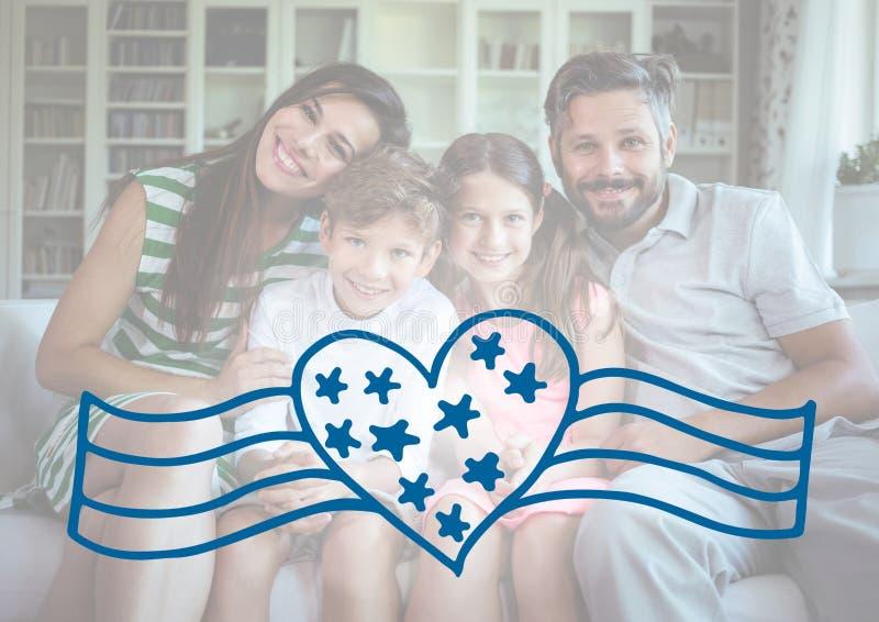 Lycklig familj som firar självständighetsdagen arkivbild