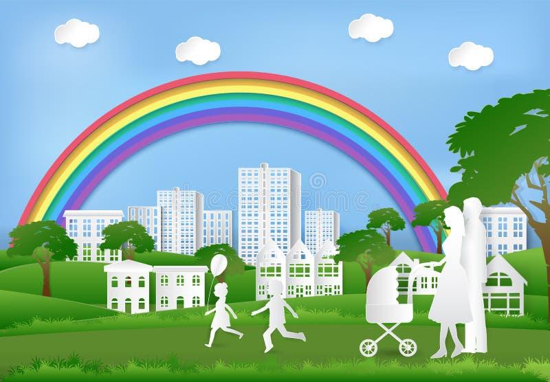 Lycklig familj som har gyckel i parkera och regnbågen på blå himmel royaltyfri illustrationer